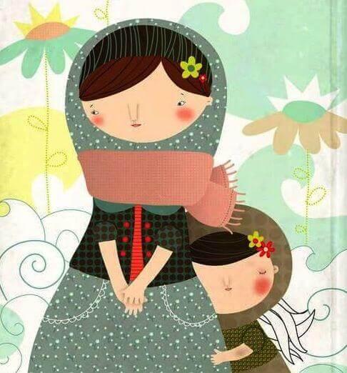 Illustration d'une petite fille qui câline sa maman