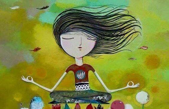 Illustration d'une fille en séance de méditation