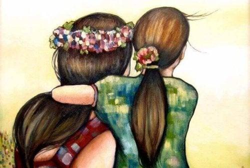 Illustration d'une petite fille entourant sa maman de ses bras