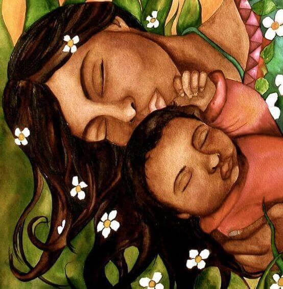Une maman et un bébé endormis