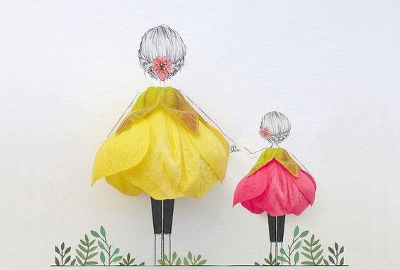 Illustration d'une maman qui tient la main à sa petite fille