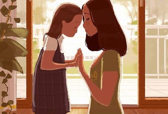 Illustration d'une maman et de sa petite fille reconnaissantes l'une envers l'autre