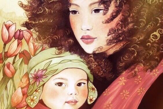 Illustration d'un bébé dans les bras de sa maman