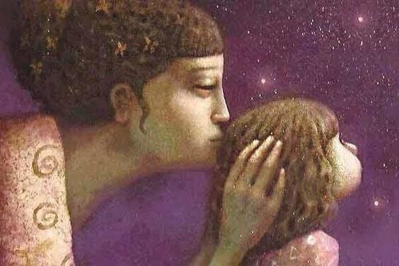 Illustration d'une maman qui embrasse sa petite fille, geste qui permet de communiquer avec son bébé