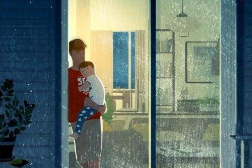 Un papa et son enfant.