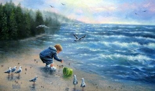 enfant jouant à la plage