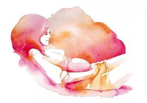 dessin femme enceinte qui sourit