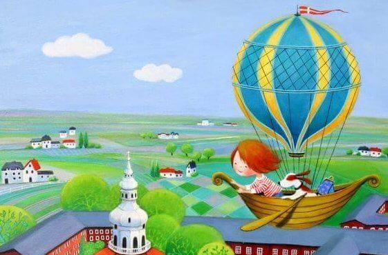 Illustration d'une enfant dans une montgolfière