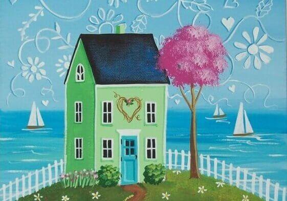 Illustration d'une maison près de la mer