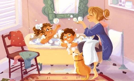 Une maman dans une famille monoparentale
