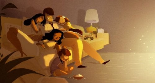 parents épuisés avec leurs enfants