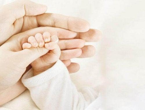 La main d'un bébé dans les paumes de sa maman et de son papa pendant la tétée, montrant le rôle du père pendant l'allaitement