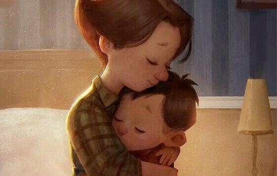 Câlin entre mère et fils.