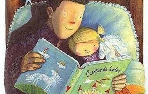 un père et sa fille lisant des histoires pour dormir