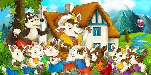 L'histoire du loup et des sept petits chevreaux met en avant la figure du loup.
