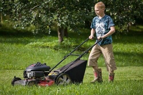 Adolescent qui tond la pelouse