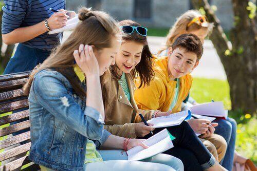 Des adolescents étudiant ensemble
