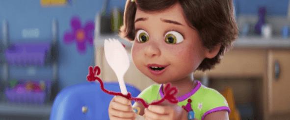 Petite fille et une fourchette du film d'animation Toy Story 4