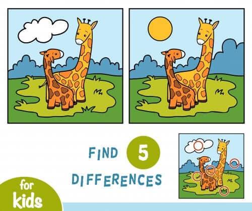 Jeu des 7 différences avec deux girafes