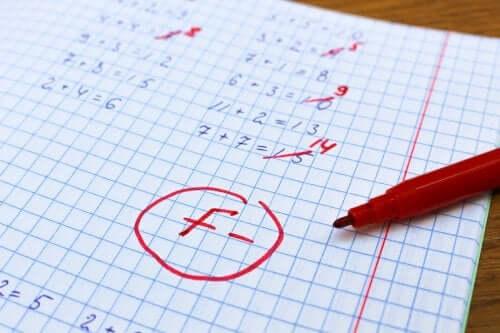 Copie de mathématiques avec des mauvais résultats