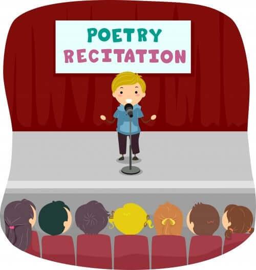 un enfant récite une poésie