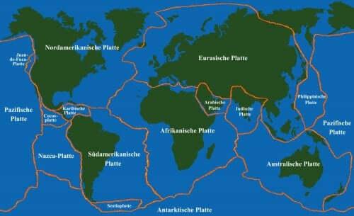 carte du monde des plaques tectoniques