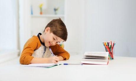 Un enfant qui travaille dans sa salle d'études