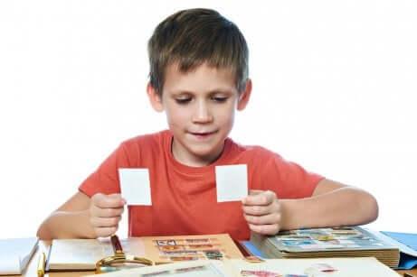 Un enfant collection des cartes et des autocollants