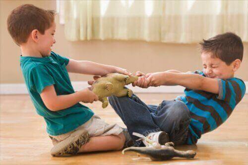 Deux frères se disputant pour un jouet