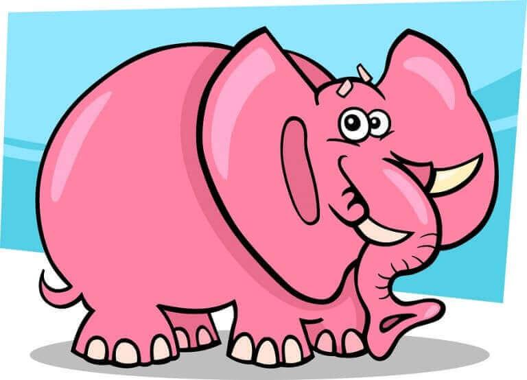 Un éléphant rose dessiné