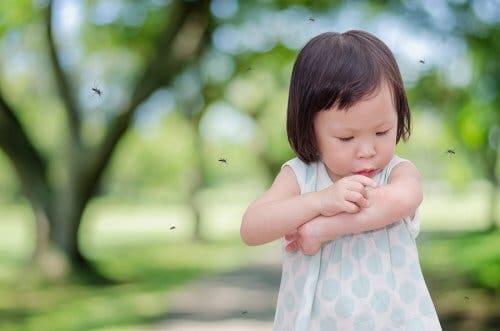 Une petite fille piquée par un moustique.
