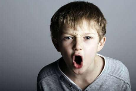 Un enfant agressif en train de hurler.