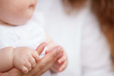 Un bébé tenant la main de sa mère.