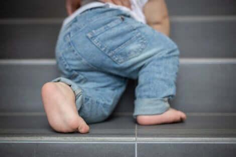 Un bébé qui grimpe des escaliers.
