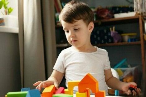 Un enfant avec un jeu de construction.